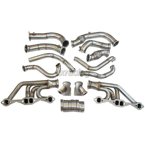 CXRacing Twin Turbo Header Manifold Downpipe Kit For 63-67