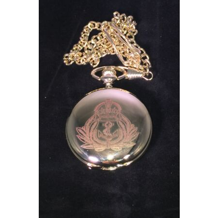 img-ROYAL NAVY CAP BADGE MOTIF POCKET WATCH, COMES WITH VELVET POUCH
