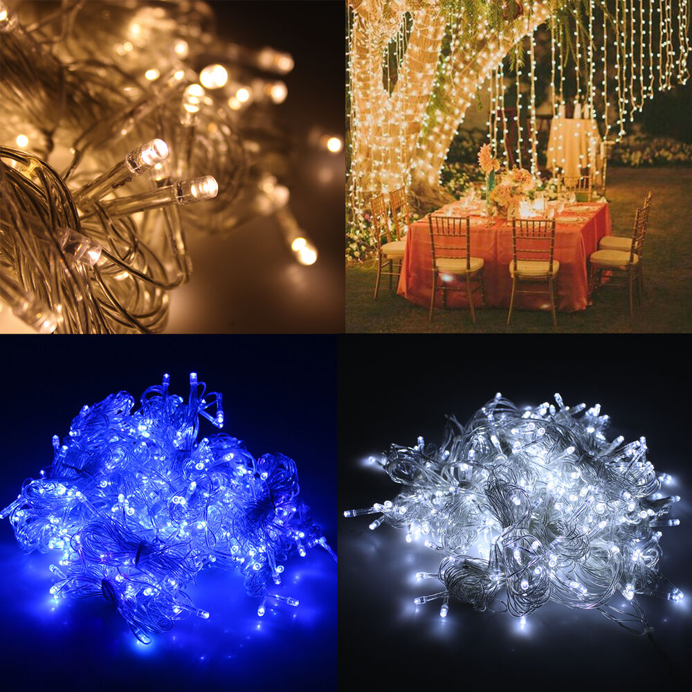 300 led outdoor christmas party string light wedding curtain light home decor ebay. Black Bedroom Furniture Sets. Home Design Ideas
