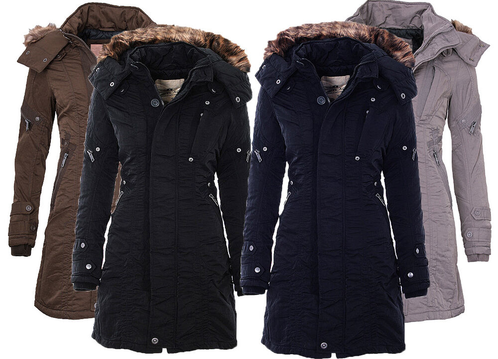 jet lag damen winter jacke mantel parka sw61a outdoor winterjacke lange jacke ebay. Black Bedroom Furniture Sets. Home Design Ideas