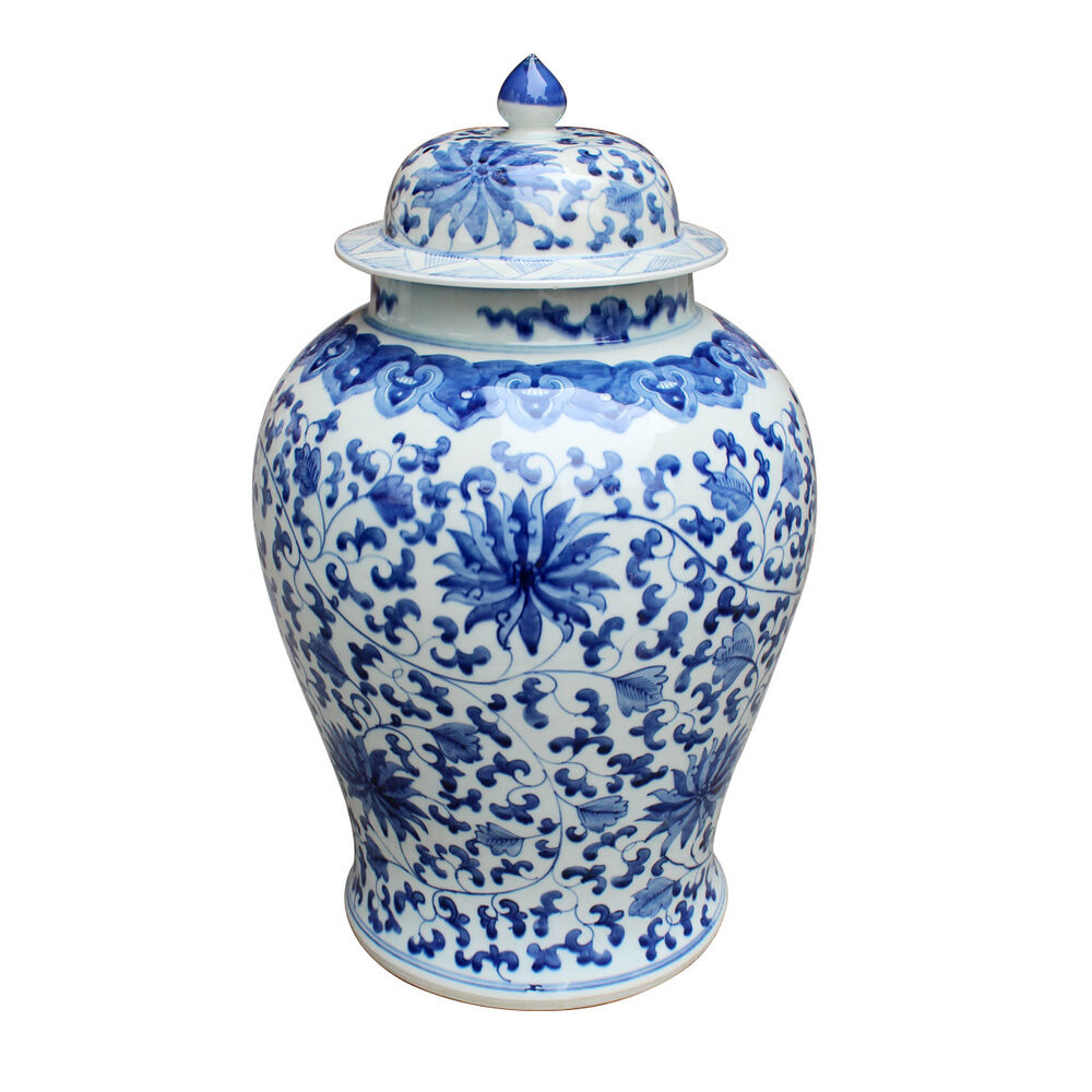 Details About Blue White Twisted Lotus Chinese Temple Jar Hand Painted Chinoiserie 21 H
