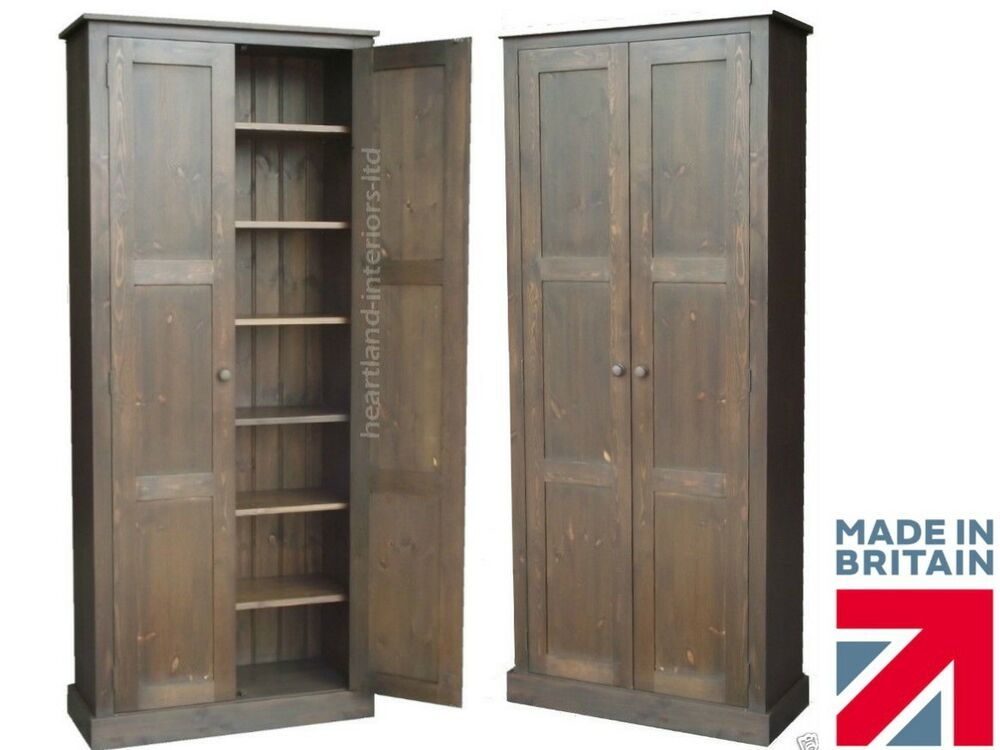 solid pine cupboard 6ft 6 tall pantry linen kitchen