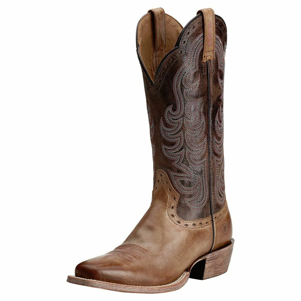 ariat s times gunsmoke brown leather square toe