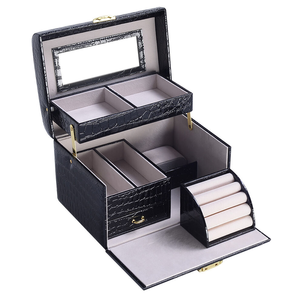 Jewelry box storage organizer case ring earring necklace for Mirror jewelry box