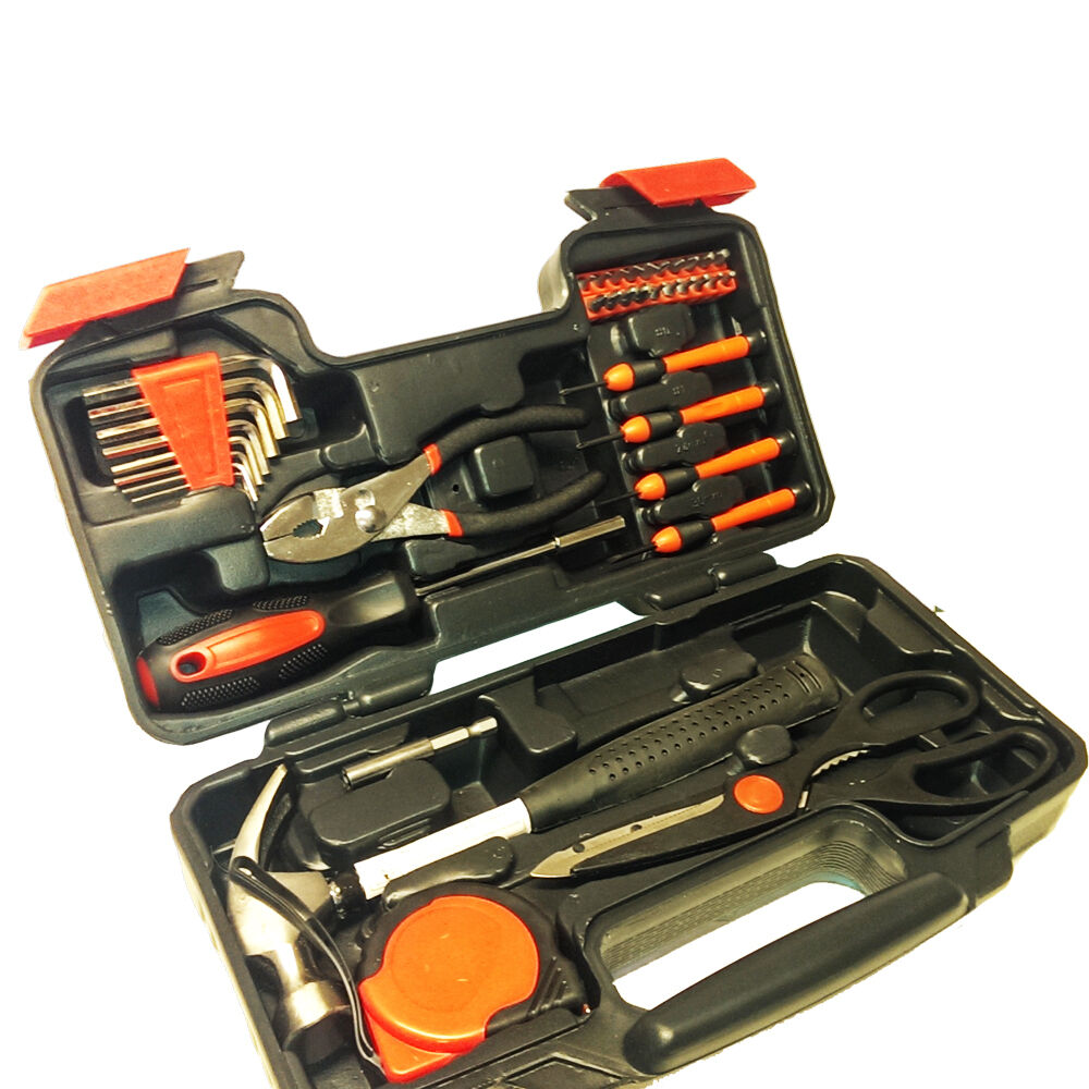 39 piece household hand tool set kit box with hard storage case ebay - Household tools ...