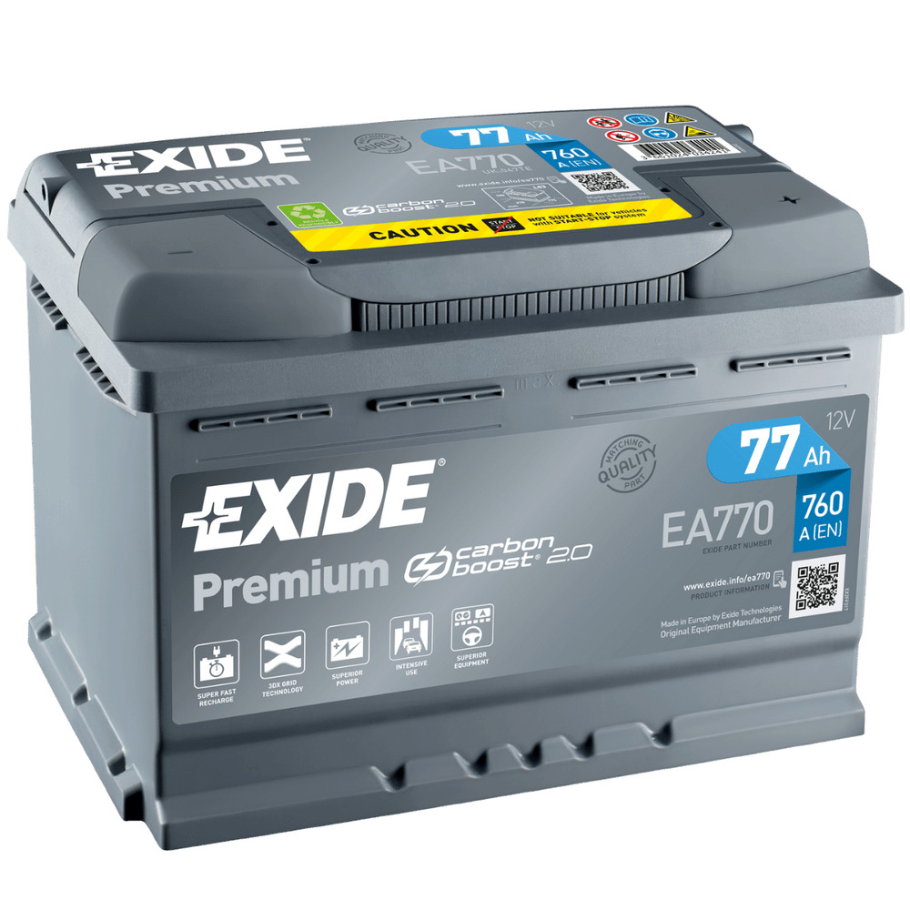 exide premium carbon boost ea770 77ah 12v einbaufertig ebay. Black Bedroom Furniture Sets. Home Design Ideas