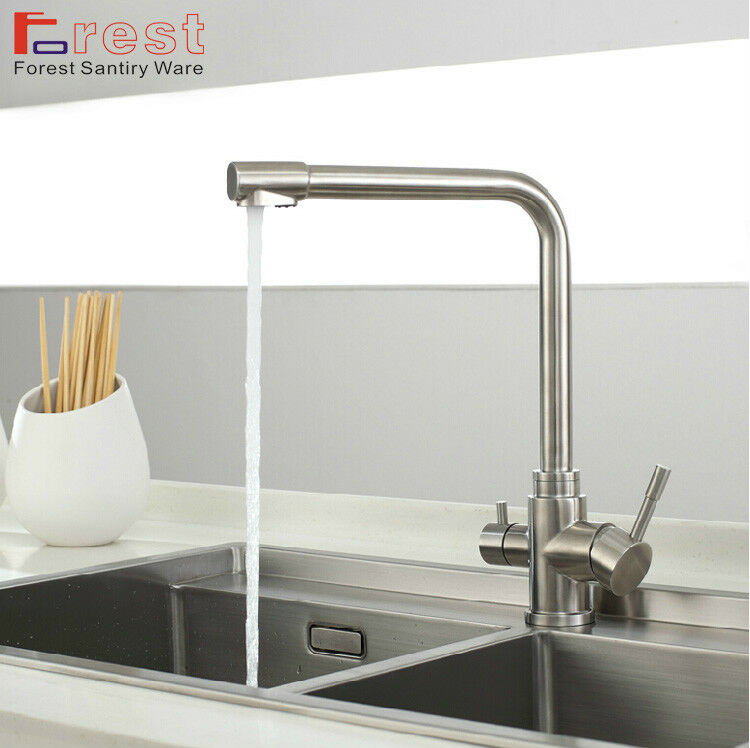 Sus304 Stainless Steel Kitchen Faucets Brushed Mixer Water: Brushed Nickle Swivel Stainless Steel Faucet Kitchen Mixer