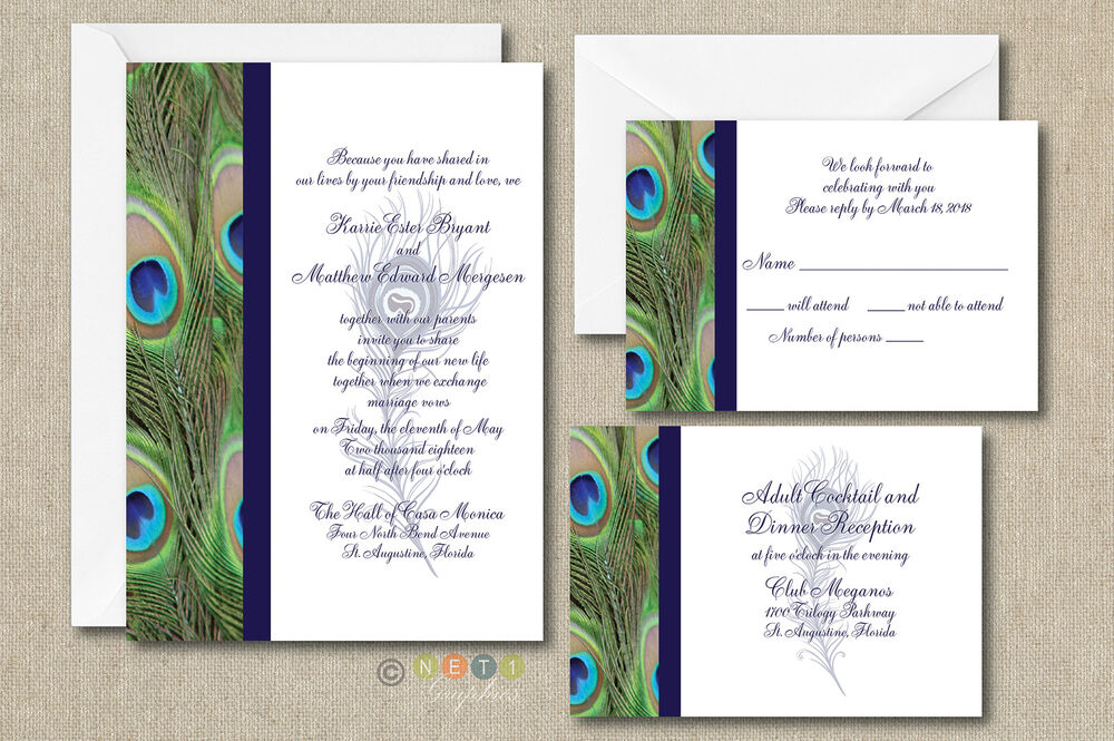 100 Wedding Invitations: 100 Personalized Peacock Feather Wedding Invitation Set