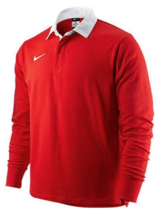 Nike Men 39 S Classic Rugby Long Sleeve Polo Jersey Shirt Red