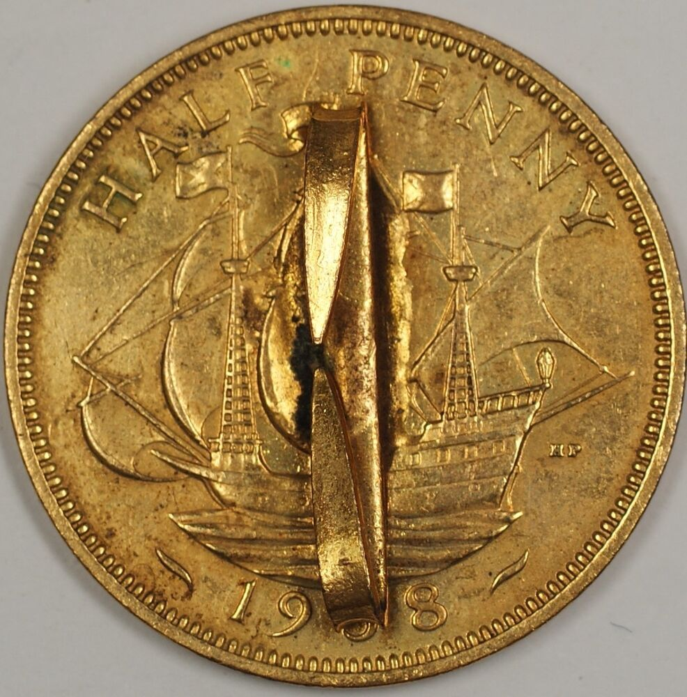 1938 Half Penny Great Britain Broach Pin Gold Colored   eBay