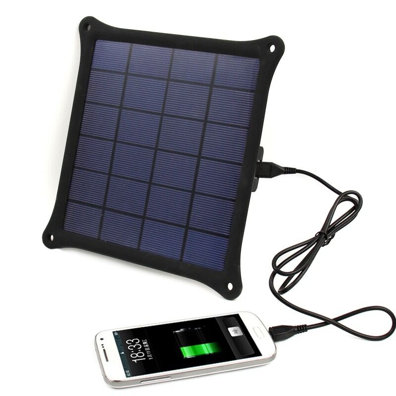 5v 5w Portable Outdoor Solar Panel Power Bank Pack Usb