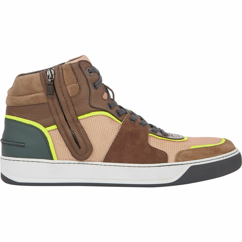 new lanvin side zip mid top sneakers mens size 11 brown