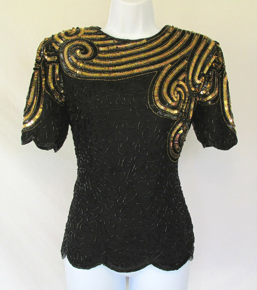 VINTAGE 1970s 80s STENAY SILK BEADED SEQUIN TOP MADE IN ...