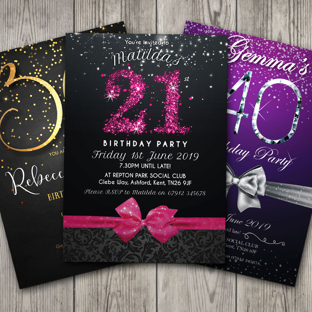 Birthday Invitations Personalised Party Invites 18th 21st