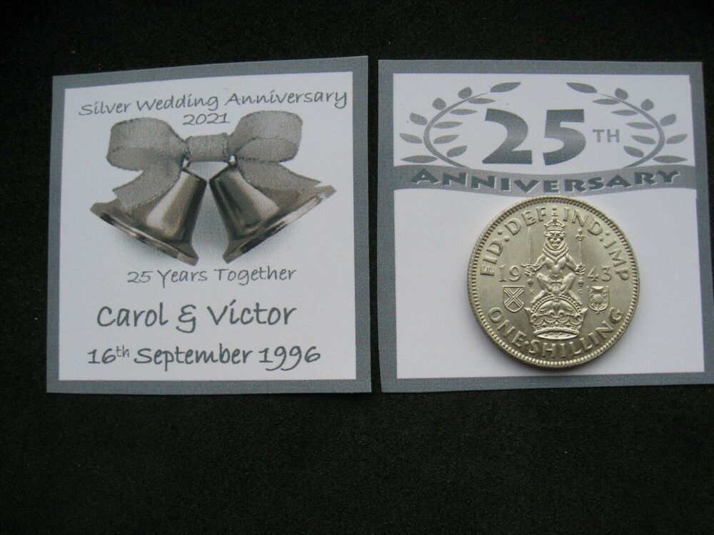 Gift For 25 Wedding Anniversary: PERSONALISED REAL Silver Shilling For 25th Wedding