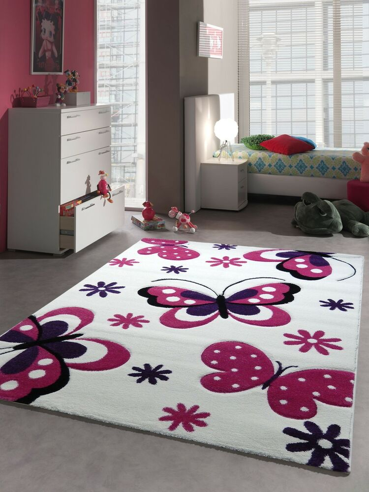 kinder teppich spielteppich kinderzimmer schmetterling 772 64 lila rosa pink ebay. Black Bedroom Furniture Sets. Home Design Ideas