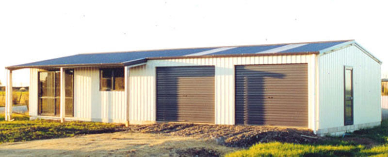 Steel insulated house w porch metal building shop kit for Metal garage with porch