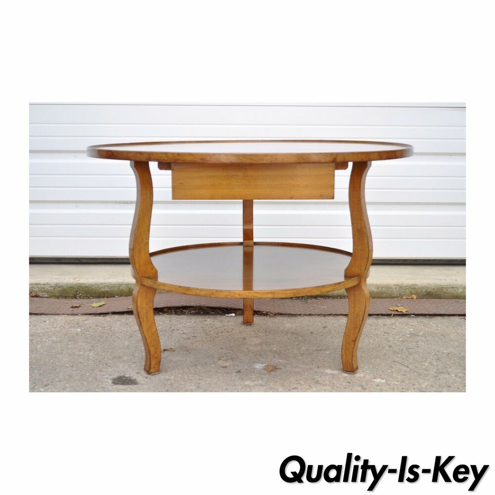 French Wood Coffee Table: Vintage Custom Quality French Country Solid Wood Round