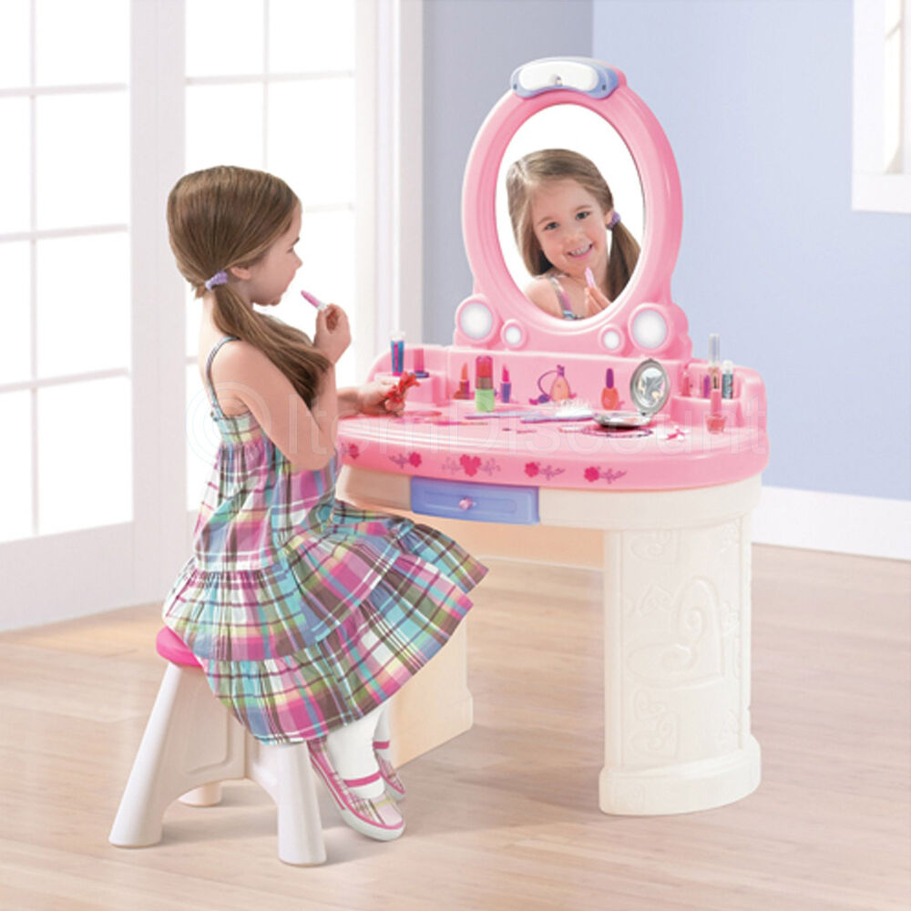 Kids Girls Play Toy Vanity Set Light Plastic Mirror Stool
