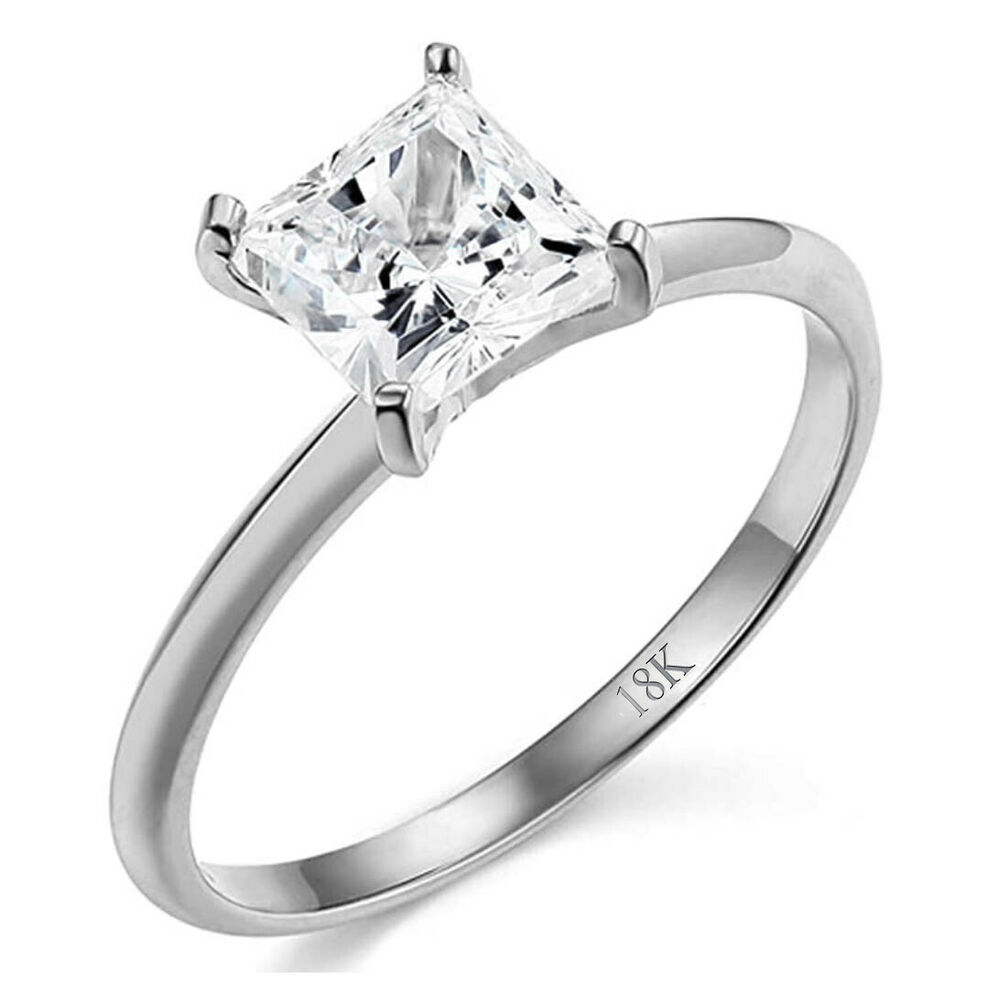wedding rings and engagement rings 1 ct princess cut solitaire engagement wedding promise 1013