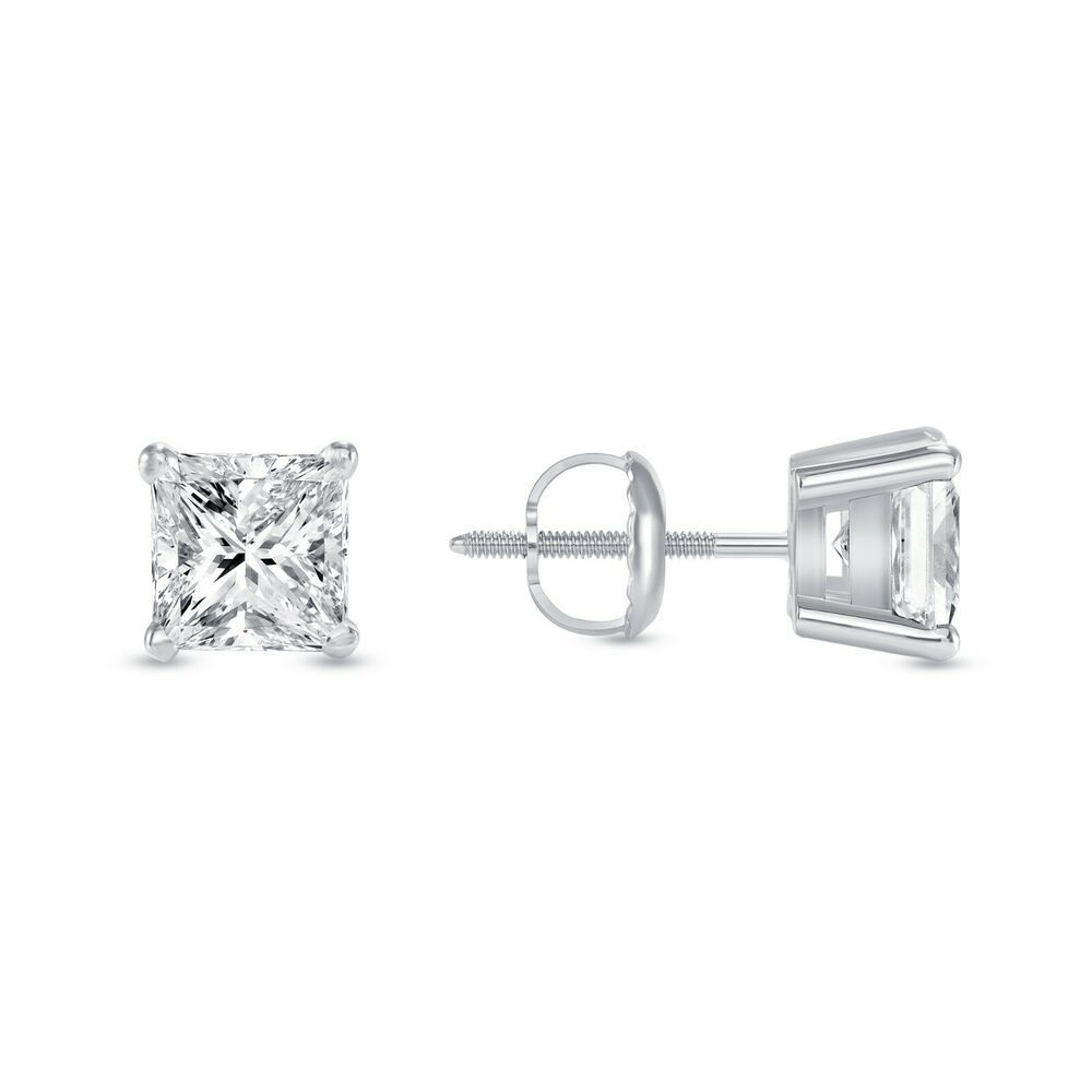 1 ct princess cut earrings 1 ct princess earrings studs brilliant cut screwback 1981