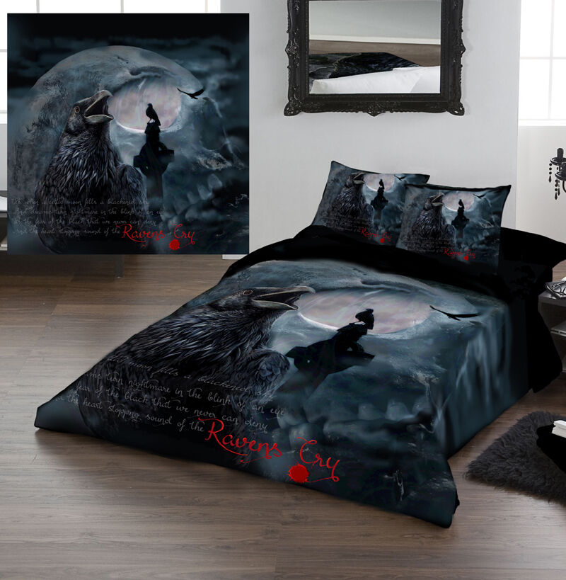 Raven 39 s cry duvet covers set for kingsize bed artwork - Drap housse king size ...