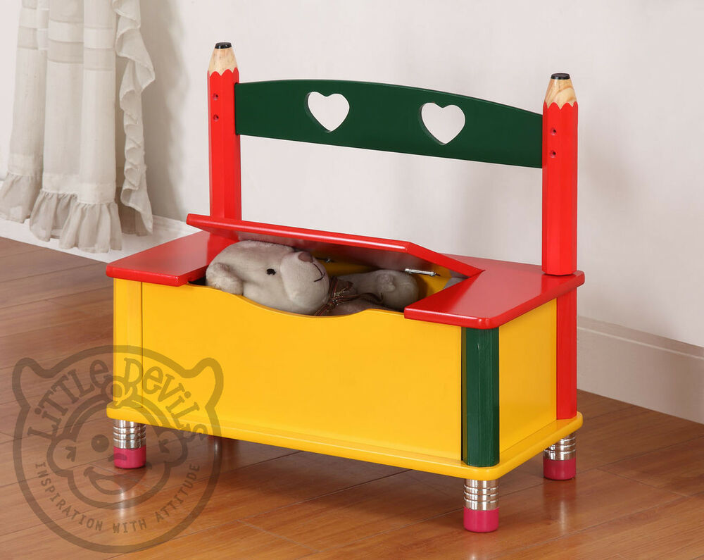Pencil Themed Children S Bench Chair Seat Amp Toy Storage