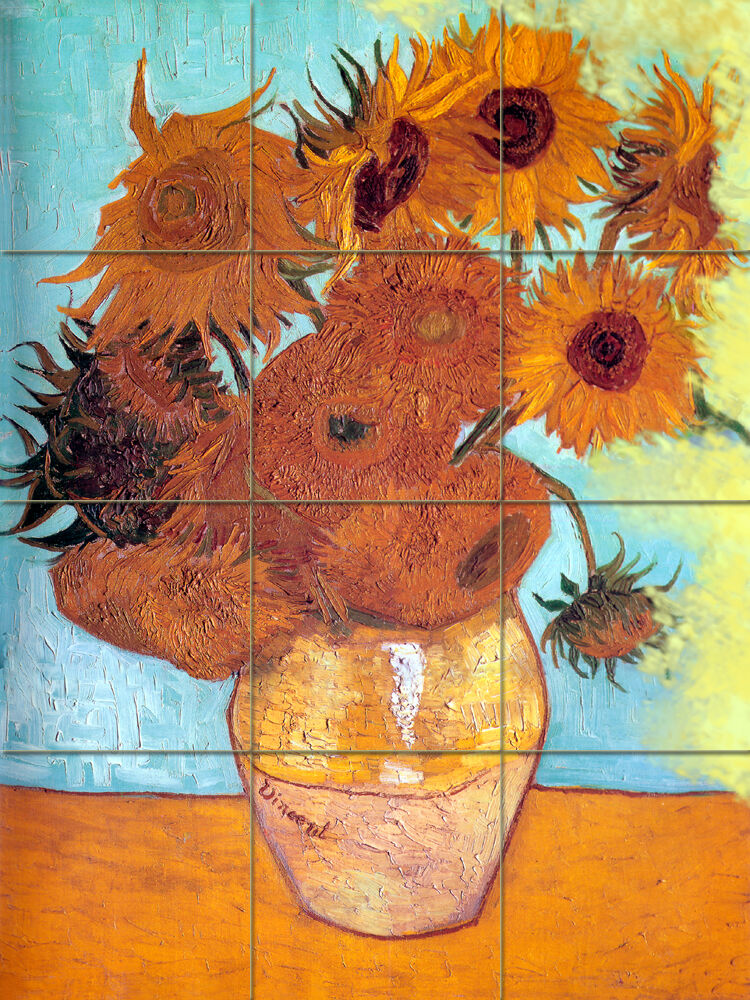 Art van gogh mural tumbled marble vase sunflowers decor for Mural van gogh