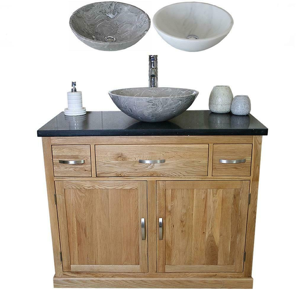 Bathroom Vanity Unit Oak Cabinet Wash Stand Black Quartz Marble Stone Basin 1