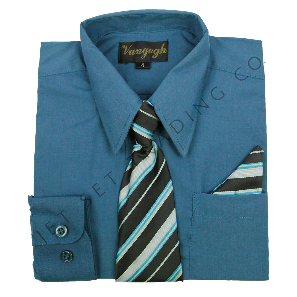 Boys denim blue dress shirt with matching tie hankie for Matching ties with shirts