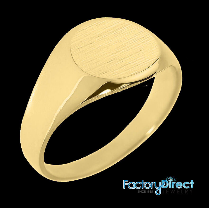 Solid Pure Gold 10.5 mm Round Engravable Men's Signet Ring ...