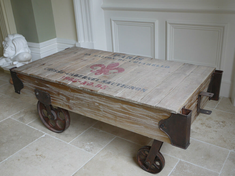 Rustic Railway Style Market Barrow Style Coffee Table Shabby Chic Cast Wheels Ebay