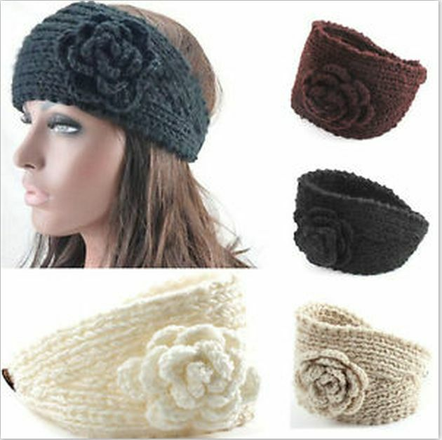 Knitting Pattern Ski Headband : GIRLS KNITTED ROSE HEADBAND HAIR BAND SKI HAT EARMUFFS ...