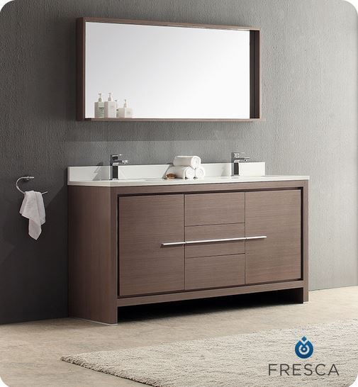 "Fresca Allier 60"" Gray Oak Modern Double Sink Bathroom ..."