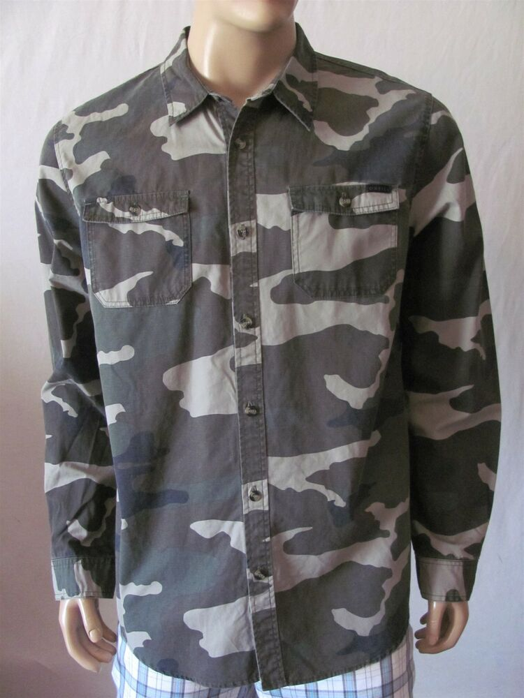 New O 39 Neill Mens Green Camo Printed Button Up Brookside L