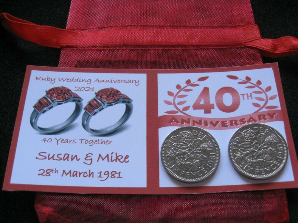 What Gift For 40th Wedding Anniversary: Personalised Sixpence Coins 40th Ruby Wedding Anniversary