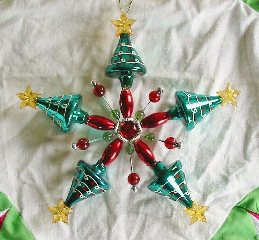 Christmas tree star large retro vintage style glass Vintage glass christmas tree ornaments