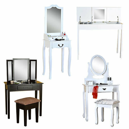 kosmetiktisch spiegel hocker wei braun sekret r. Black Bedroom Furniture Sets. Home Design Ideas