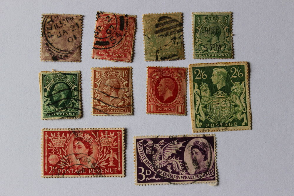 Collection of antique postal stamps, Great Britain, India ...