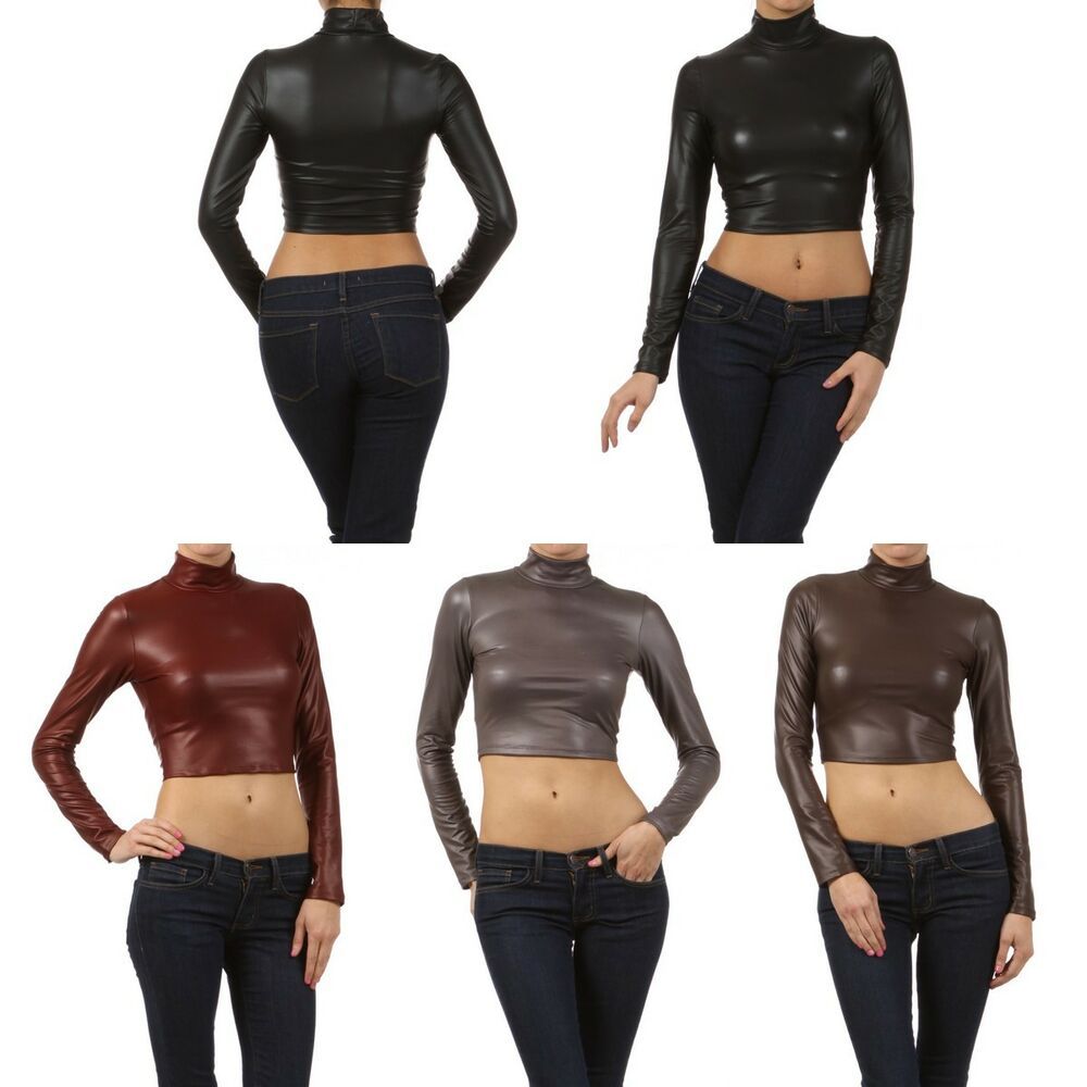 Sexy Tight Turtleneck Cropped Dull Foil Faux Leather Long