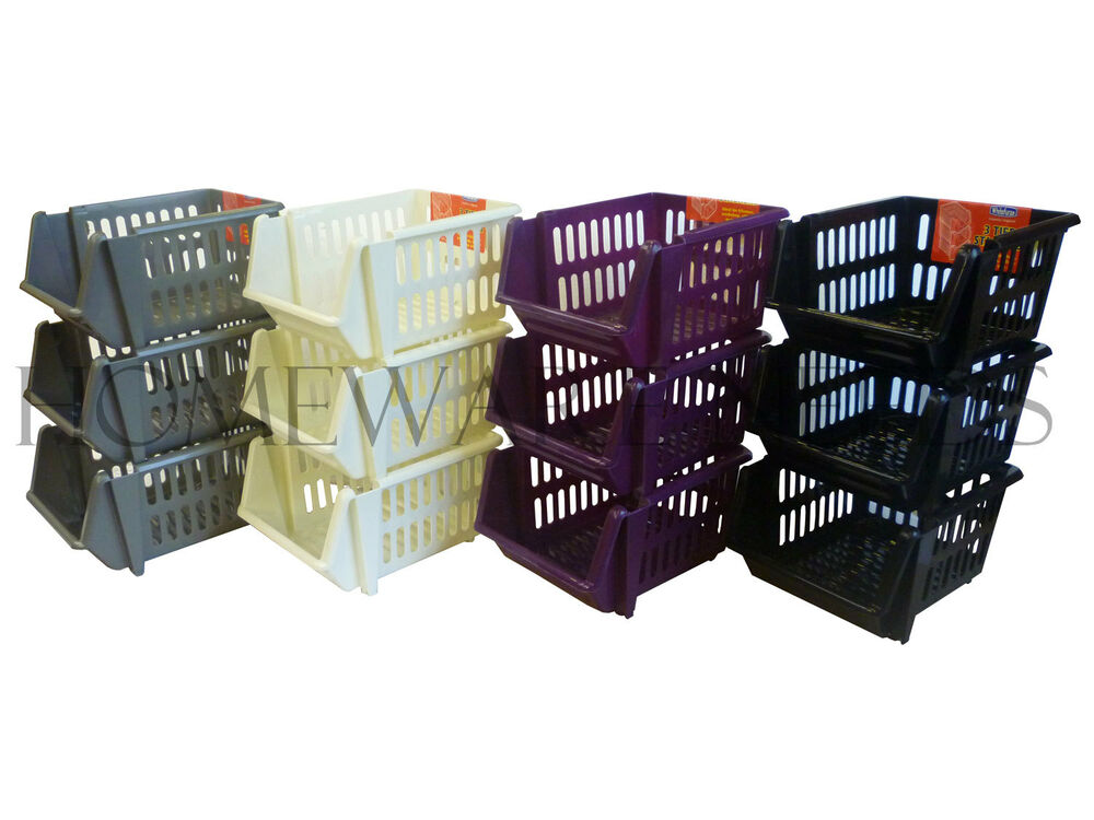 3 Tier Plastic Stacker Vegetable Veg Rack Storage Basket
