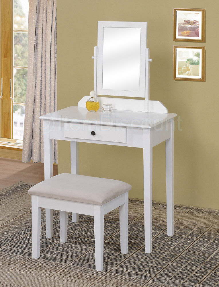 contemporary white bedroom vanity set table drawer bench hair makeup mirror wood ebay. Black Bedroom Furniture Sets. Home Design Ideas
