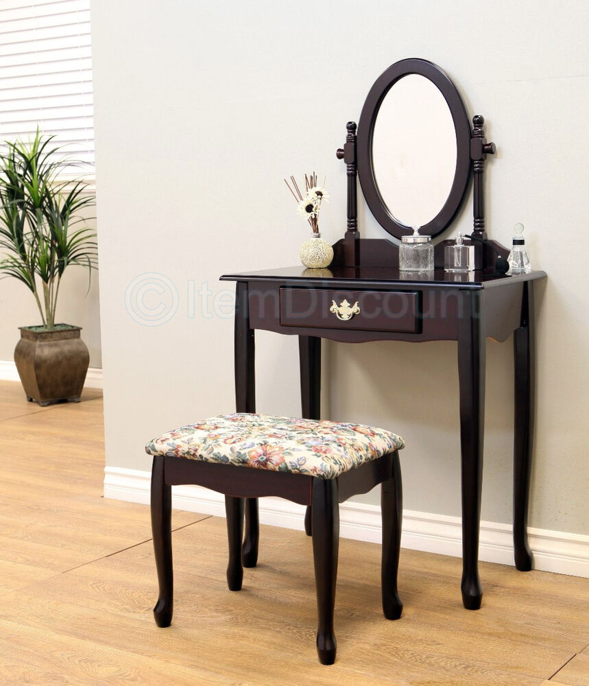 queen anne cherry oval mirror bedroom vanity set table drawer stool hair makeup ebay. Black Bedroom Furniture Sets. Home Design Ideas