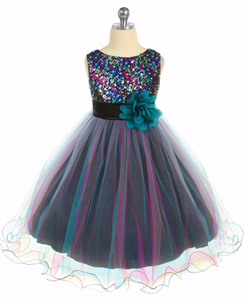 girls teal  pink sequin party dress tulle skirt size 2t