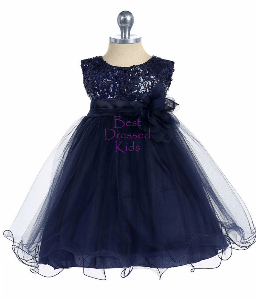 Baby Girls Navy Blue Sequin Party Dress Ruffled Tulle Size