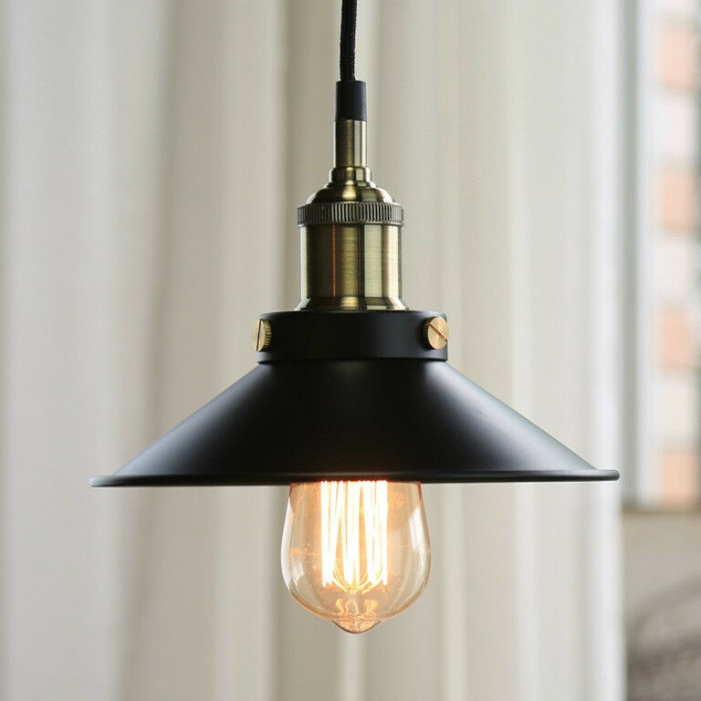 Vintage industrial style retro metal pendant light ceiling for Industrial bulb pendant