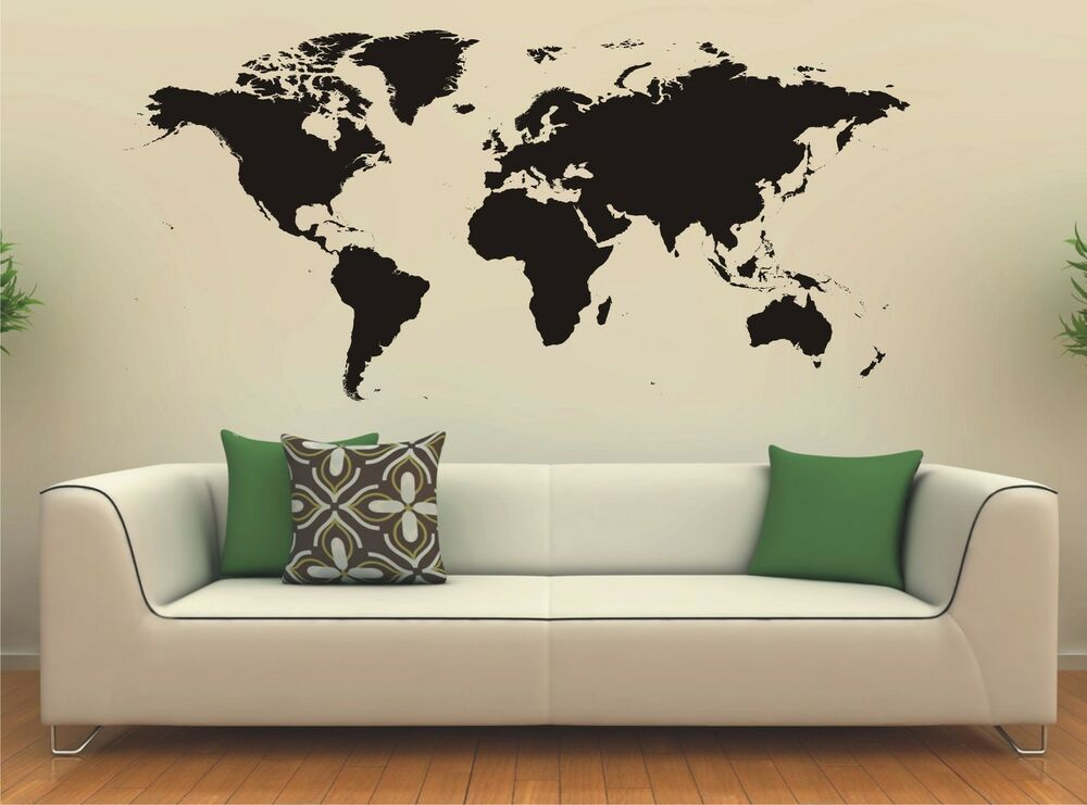 world map wall art sticker vinyl decal large ebay. Black Bedroom Furniture Sets. Home Design Ideas