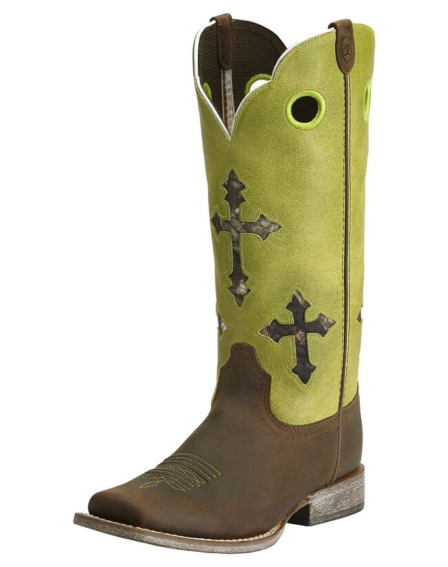 Ariat Youth Ranchero Brown Lime Green Cross Camo Square