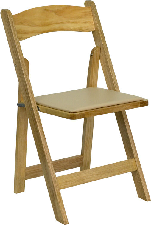 Flash Furniture HERCULES Series Natural Wood Folding Chair With Vinyl Padded