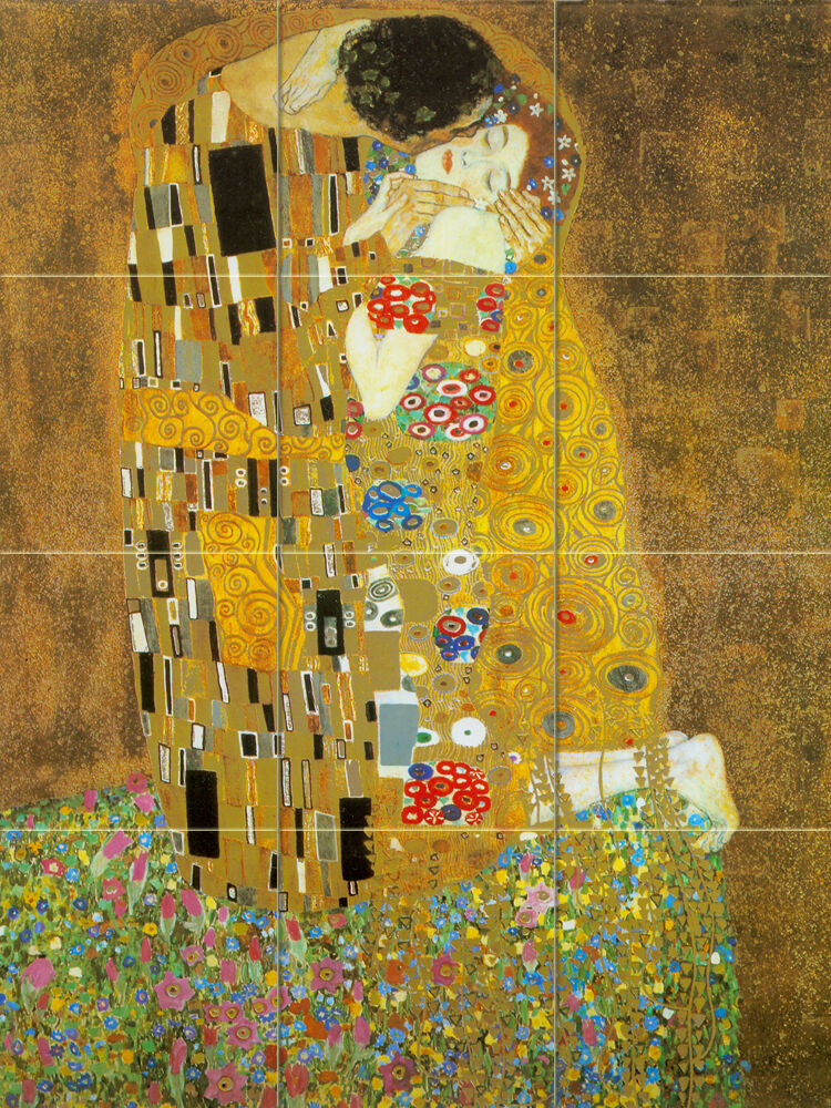 Art mural ceramic kiss klimt backsplash gold tile 33 ebay for Artwork on tile ceramic mural